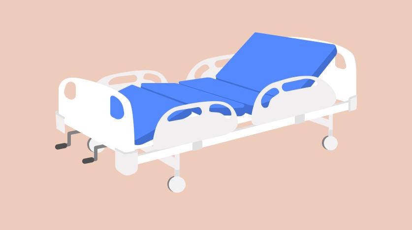 เตียงผู้ป่วยแบบมือหมุน 2 ไกร์ ราวกั้นปีกนก