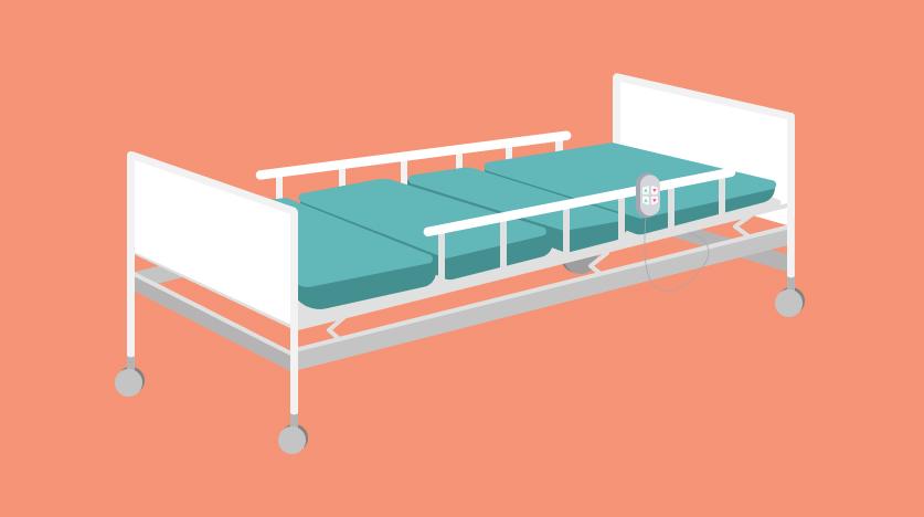 เตียงผู้ป่วยแบบไฟฟ้า 2 ไกร์ ราวกั้นเหล็ก