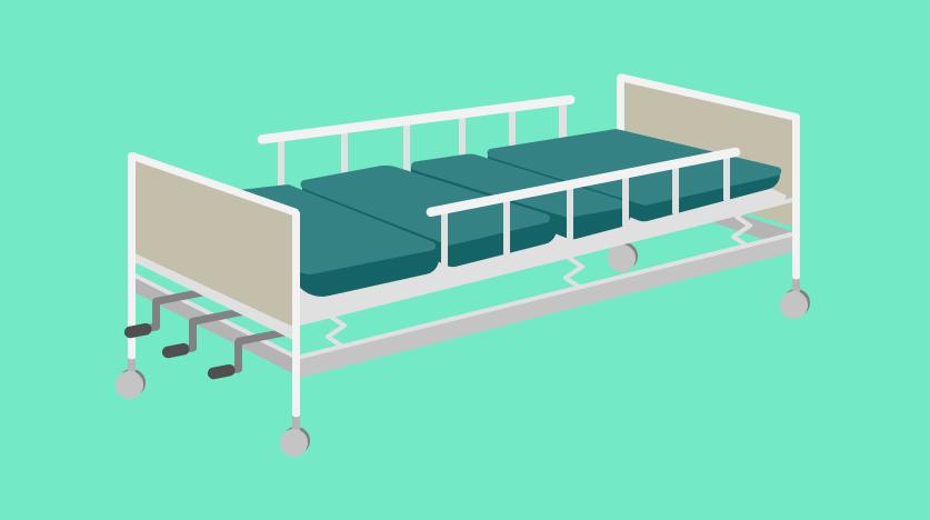 เตียงผู้ป่วยแบบมือหมุน 3 ไกร์ ราวกั้นเหล็ก