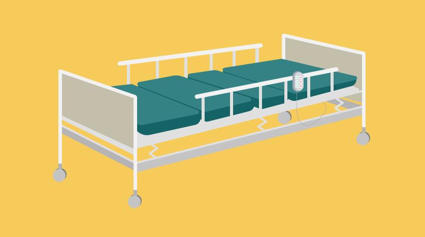 เตียงผู้ป่วยแบบไฟฟ้า 3 ไกร์ ราวกั้นเหล็ก